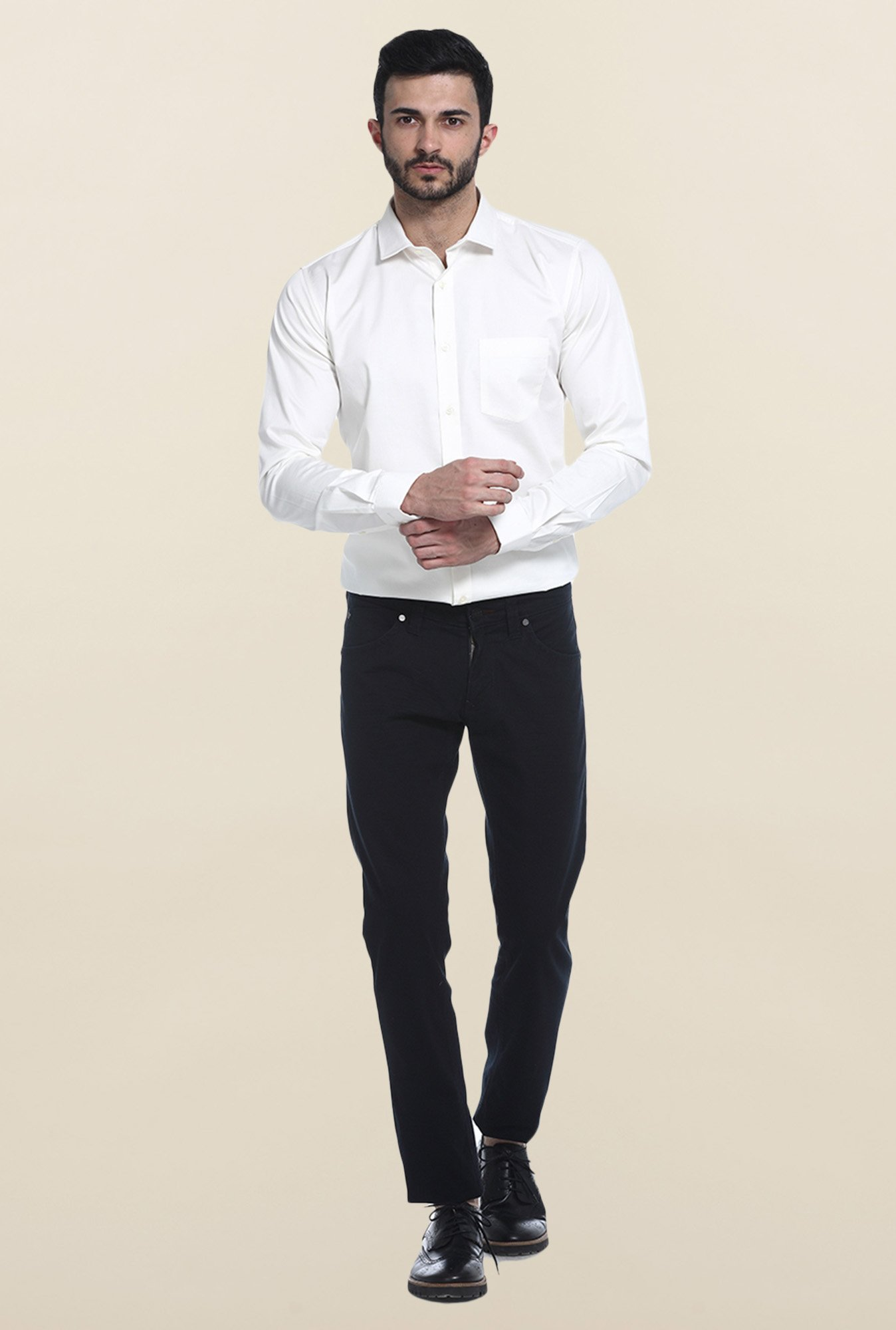 Basics White Solid Casual Shirt