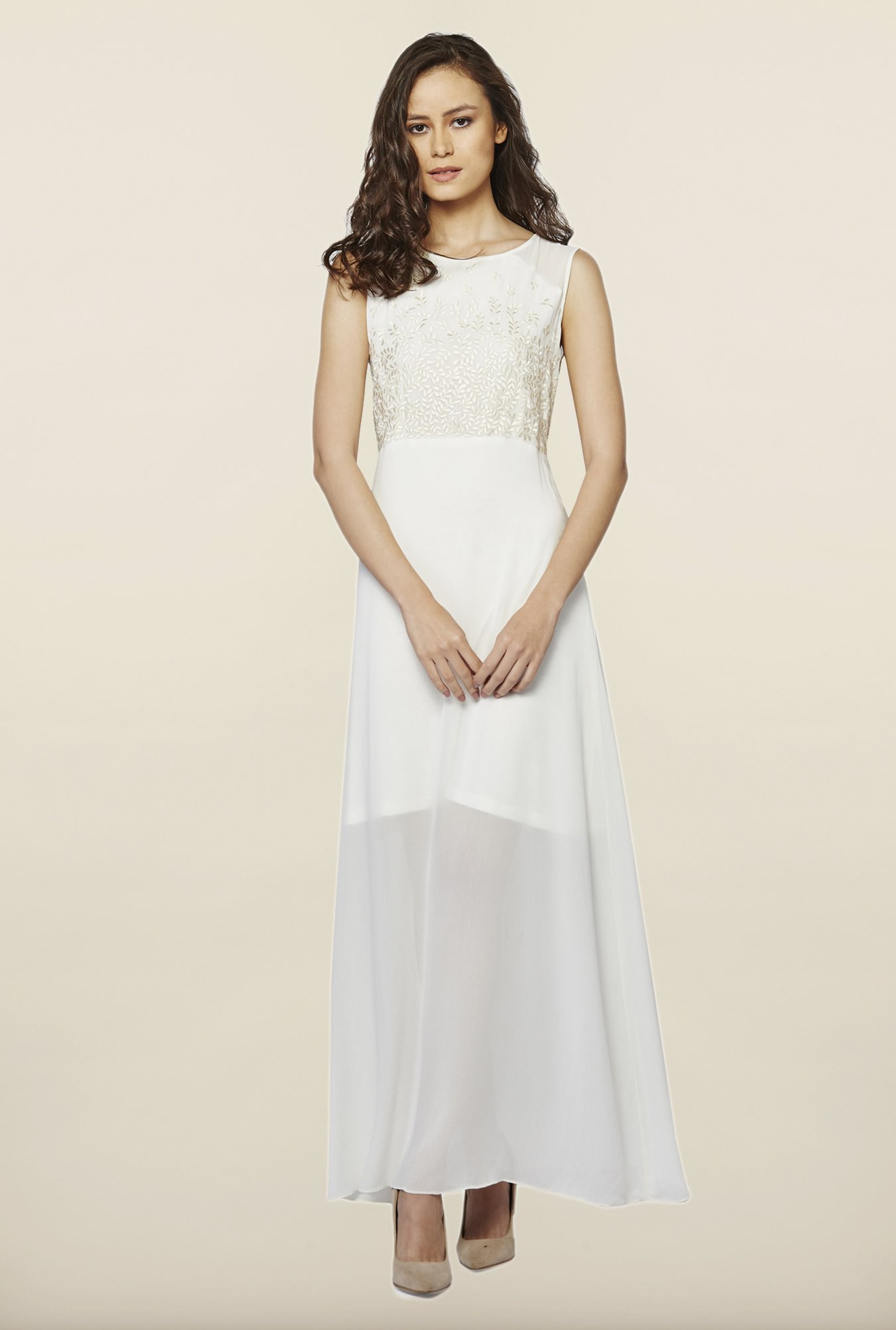 AND White Embroidered Casual Dress