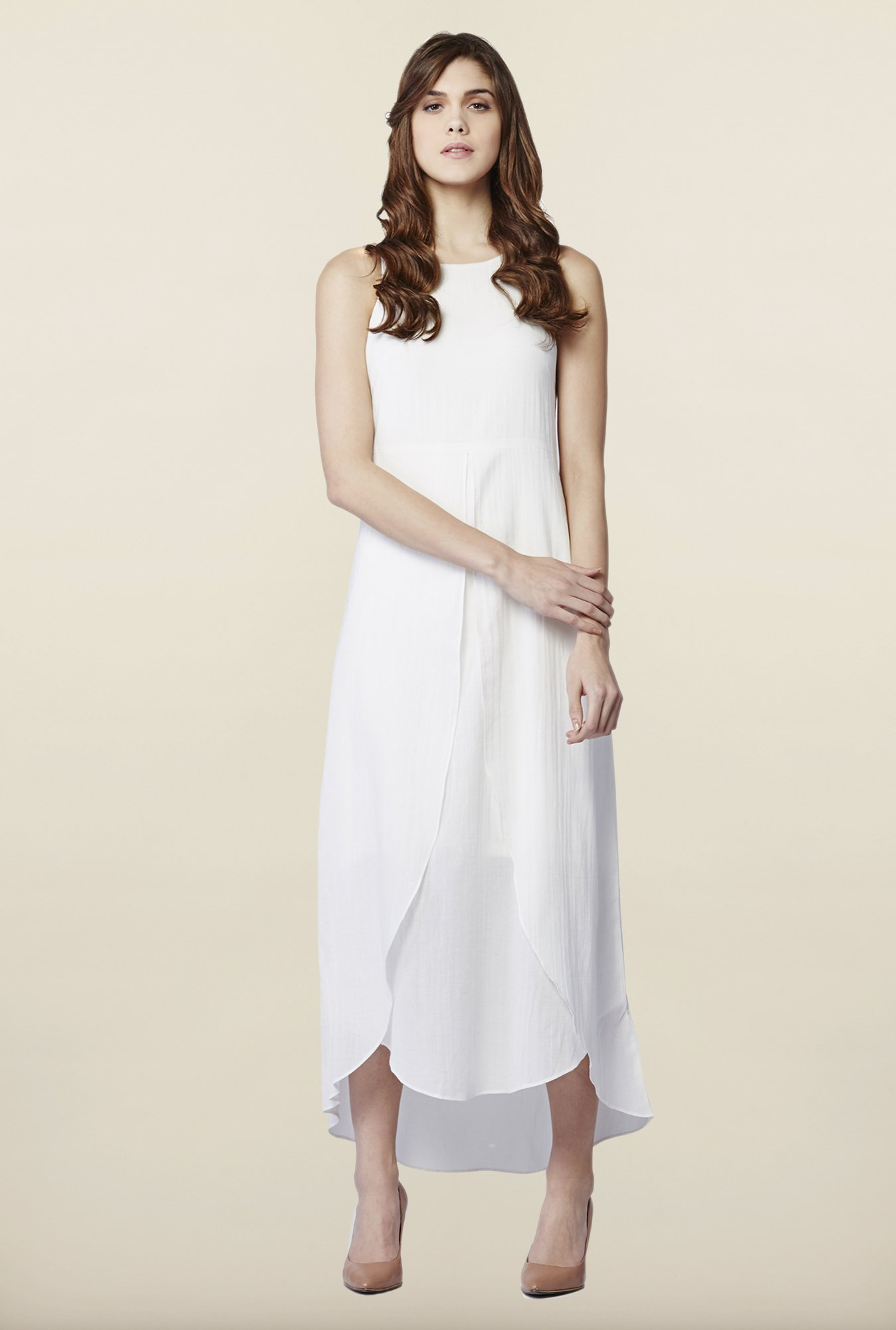 AND White Solid Casual Dress