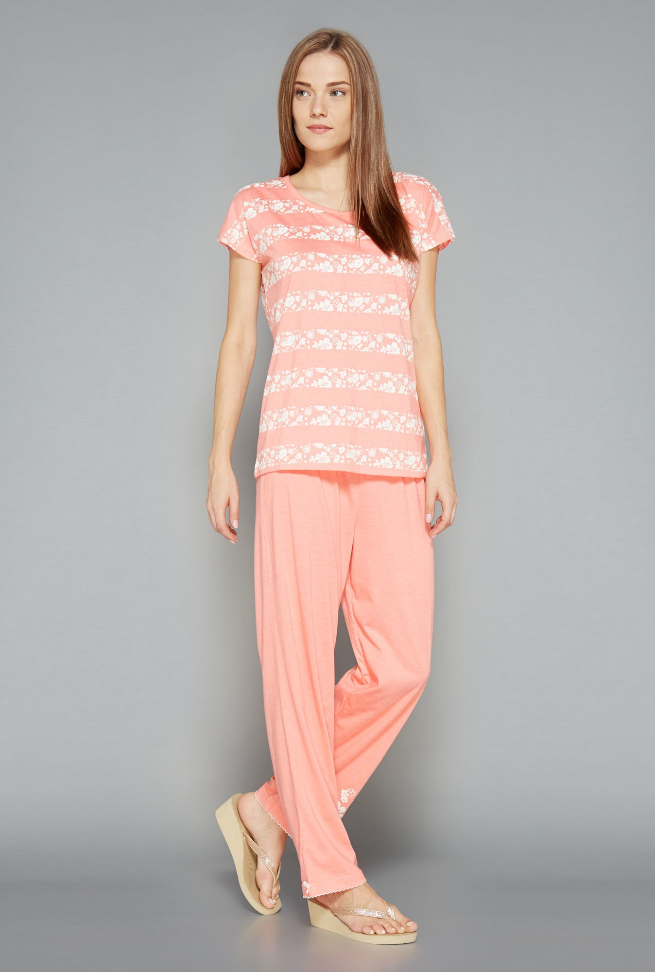 Intima Orange Printed Pyjama Set