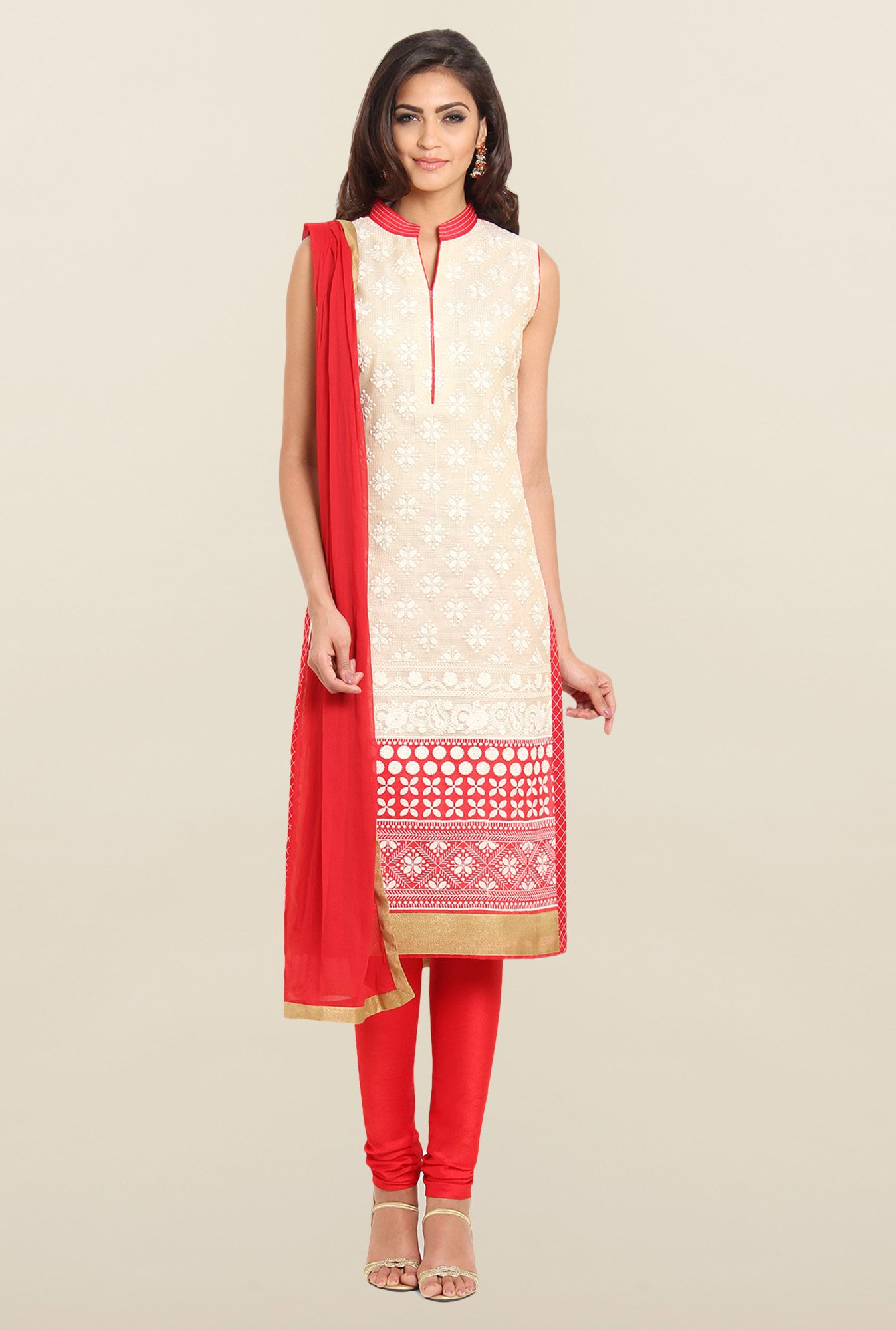 Soch Beige & Red Embroidered Churidar Suit Set