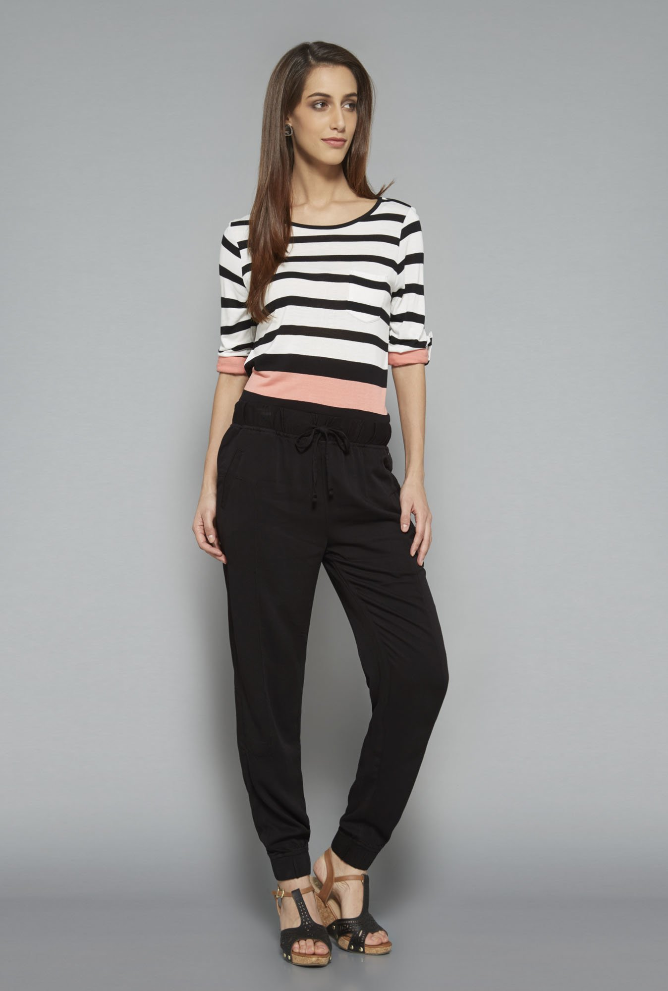 L.O.V Black Striped Top