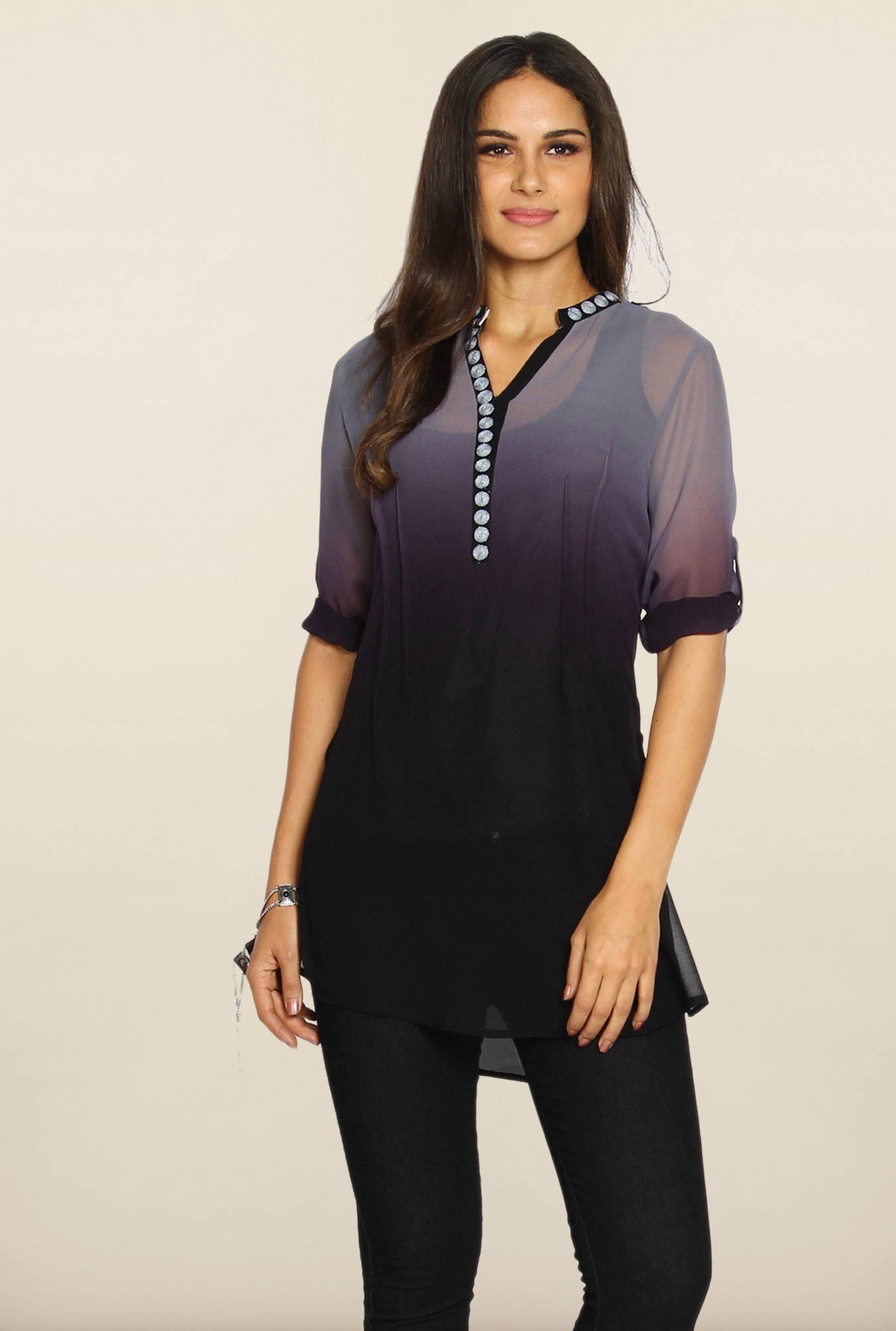 Soch Grey And Dark Purple Ombre-Dyed Tunic