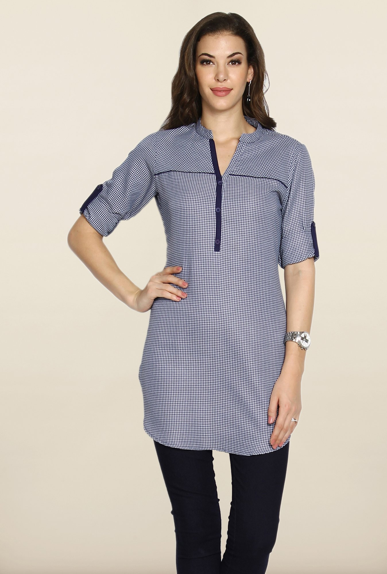 Soch Navy Checkered Tunic