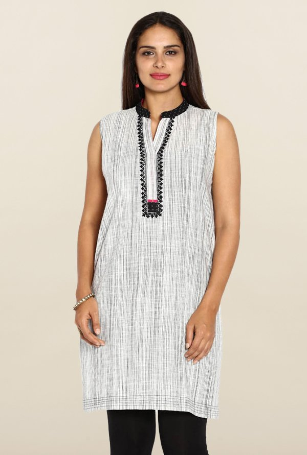 Soch Off-White Striped Cotton Kurti