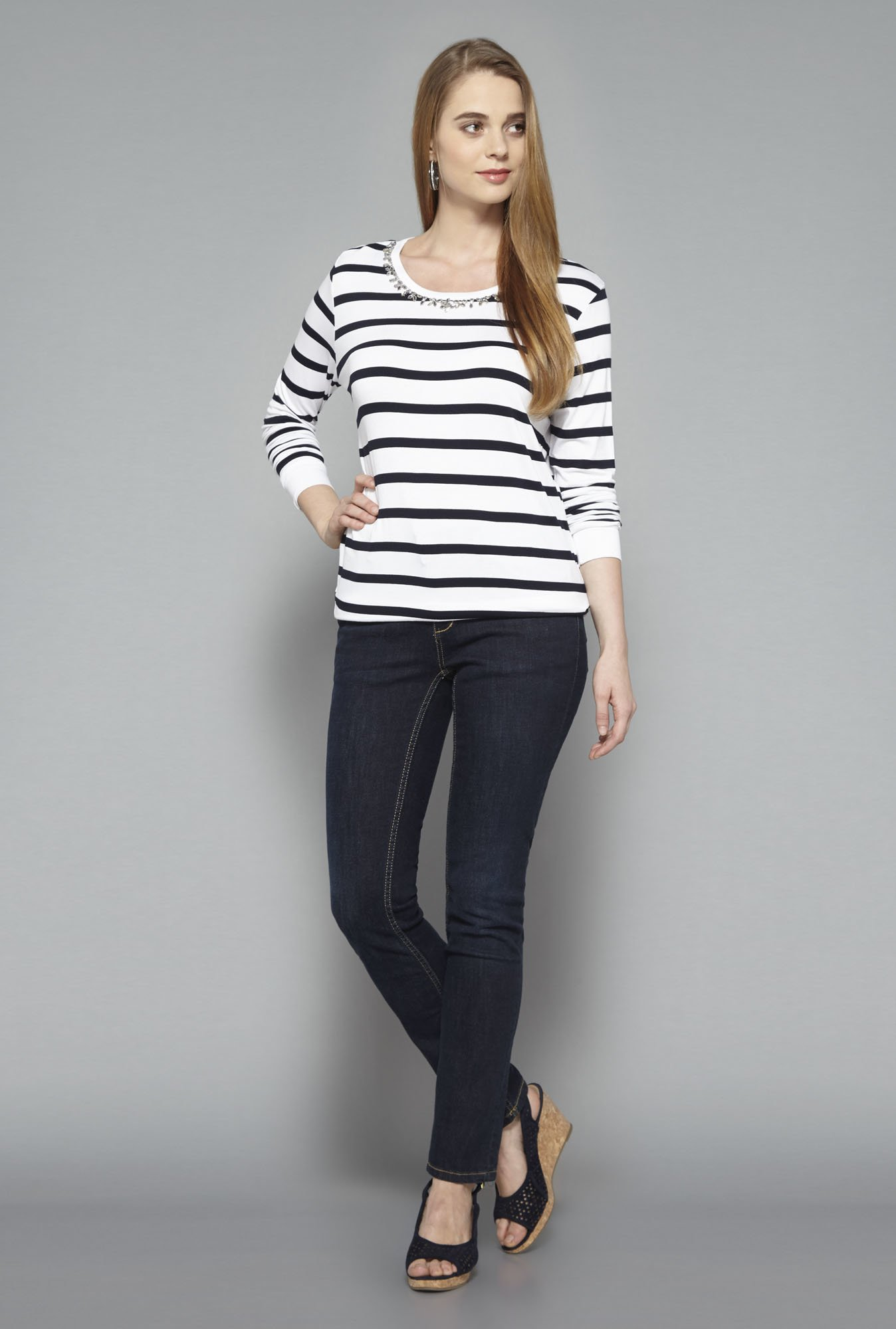 L.O.V Navy Striped T-shirt