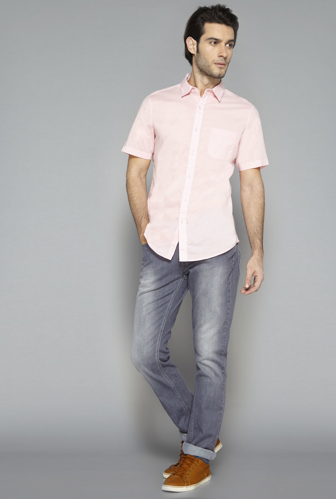 Westsport Mens Pink Cotton Casual Shirt