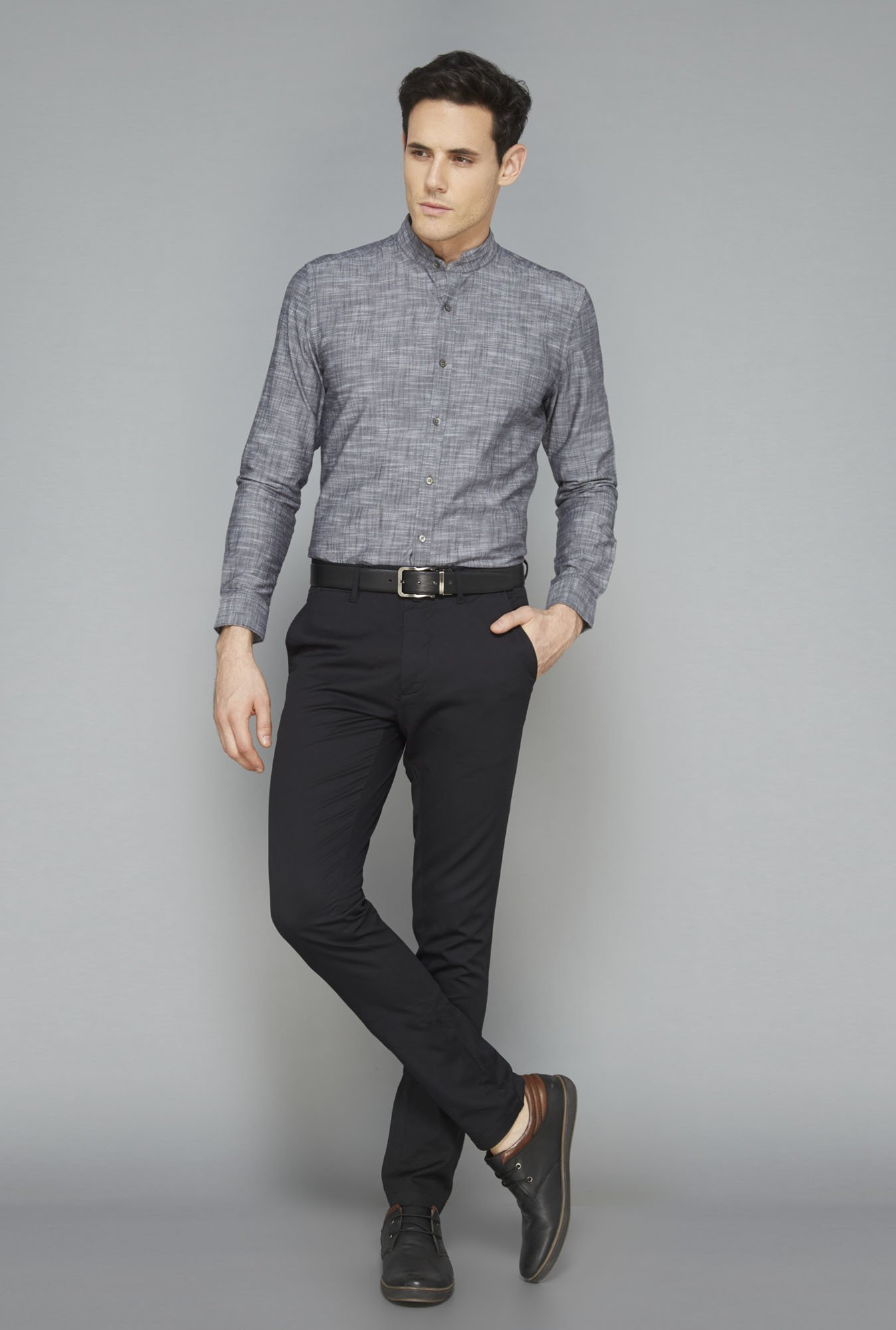 Ascot Grey Cotton Slim Fit Casual Shirt