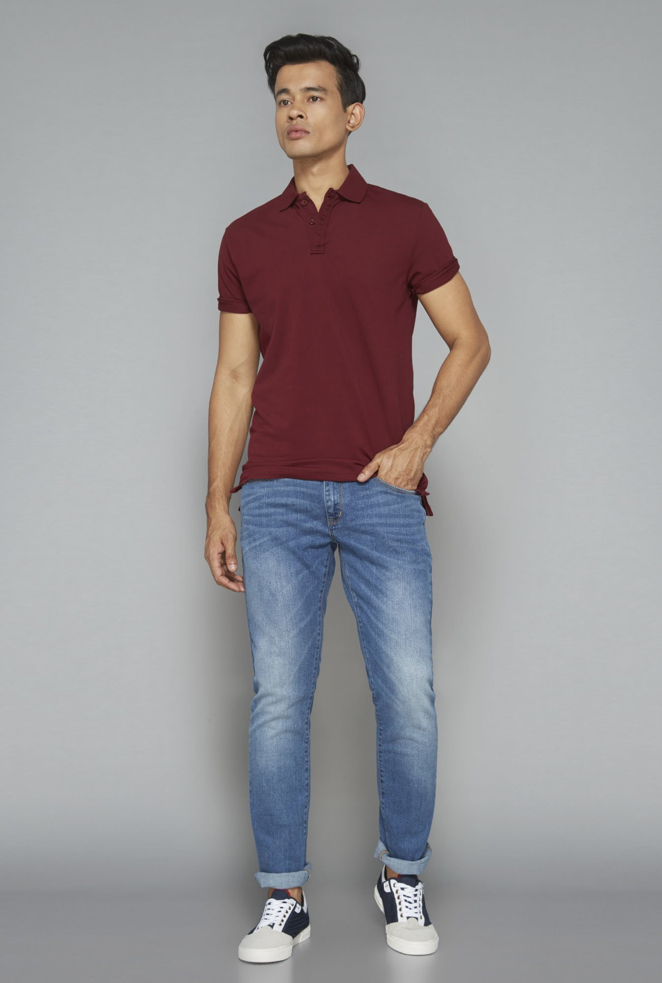 Nuon by Westside Maroon Solid T-Shirt