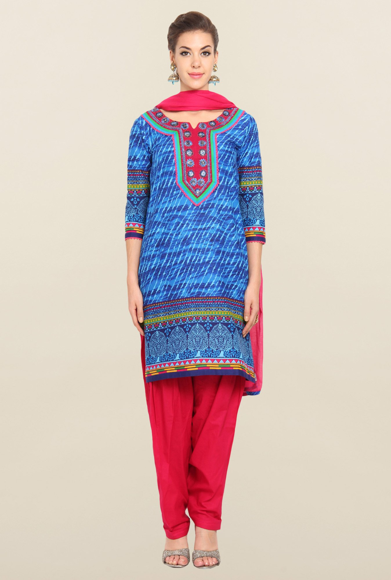 Soch Blue & Pink Leheriya Cotton Churidar Suit Set