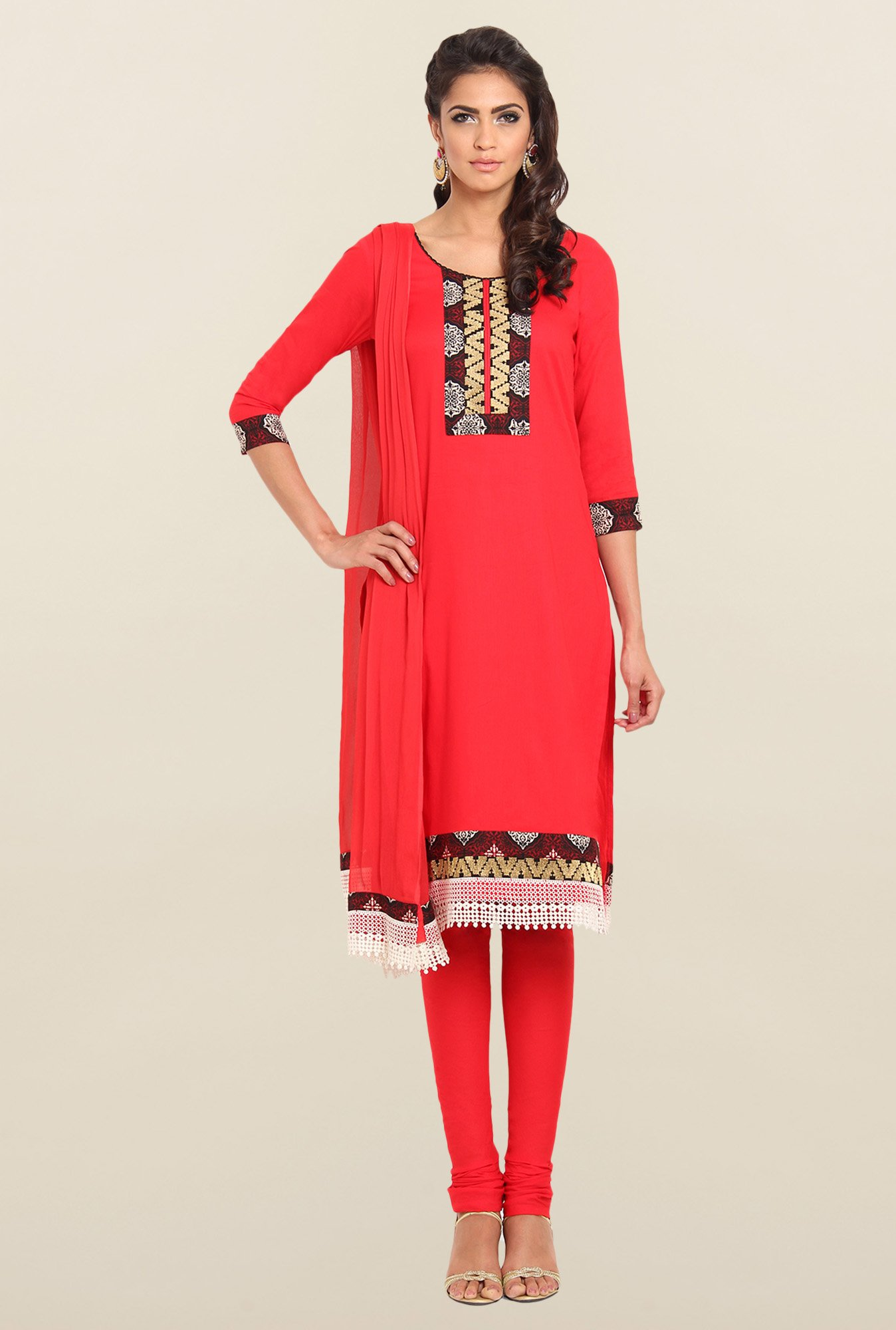 Soch Red Cotton Straight Churidar Suit Set