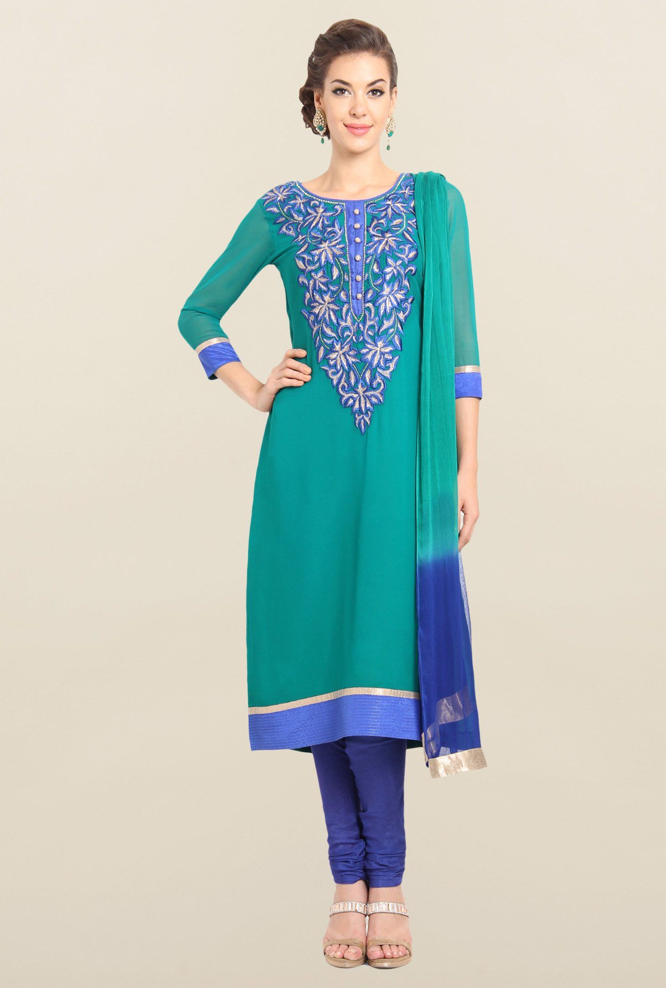 Soch Emerald Green & Royal Blue Georgette Churidar Suit Set