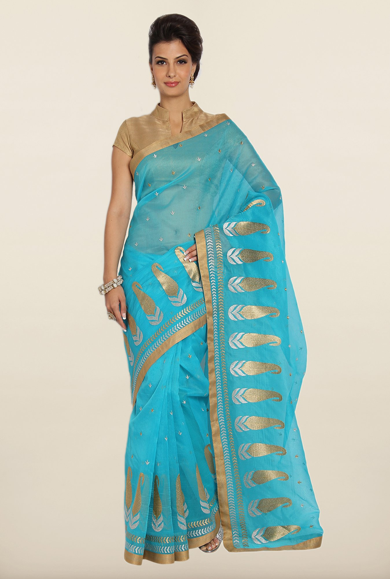 Soch Blue Kota Cotton Saree