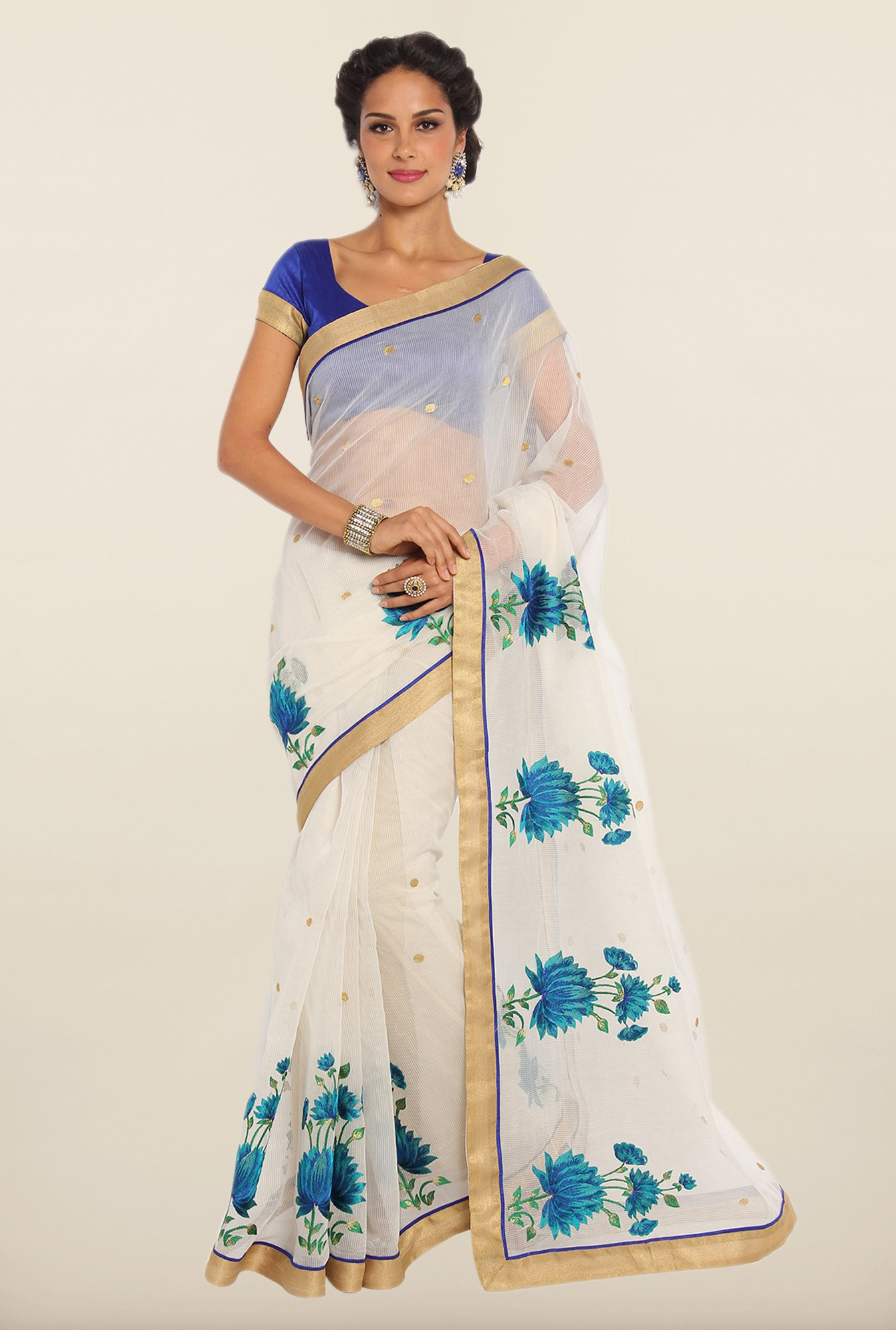 Soch Off-White & Blue Kota Saree