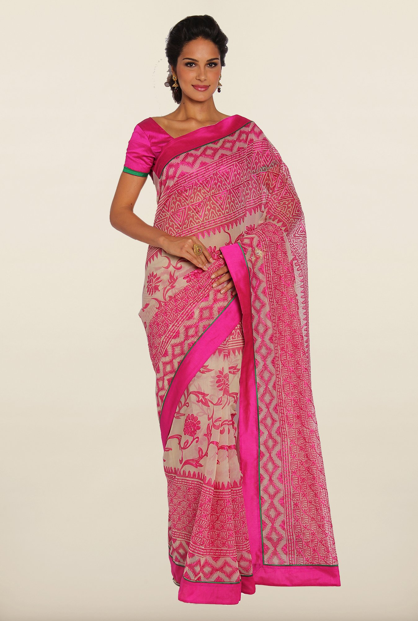 Soch Magenta & Off-White Kota Saree