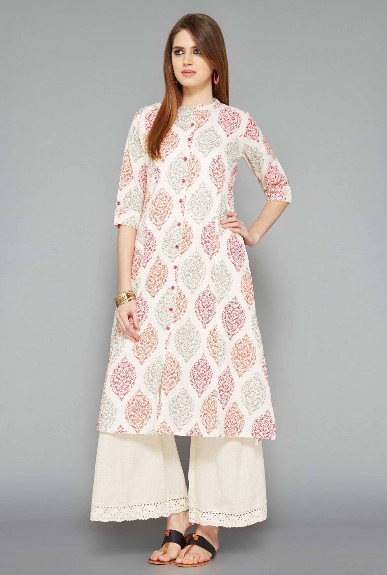 Utsa Off-White Block Printed Long Kurta