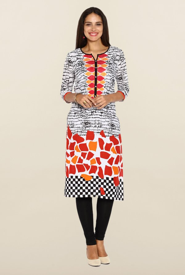 Soch White & Dark Red Printed Round Neck Kurta