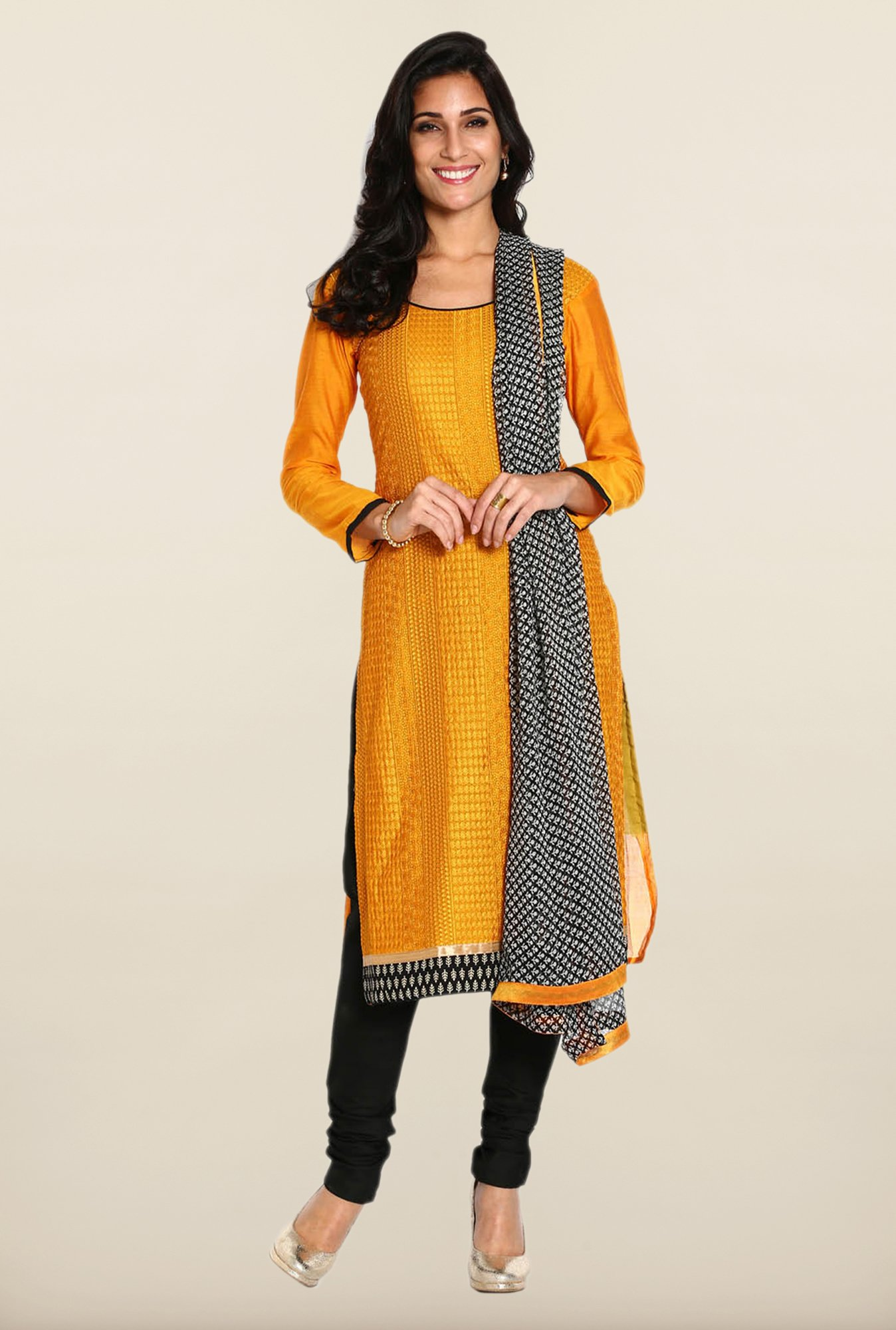 Soch Mustard & Black Chanderi Dress Material