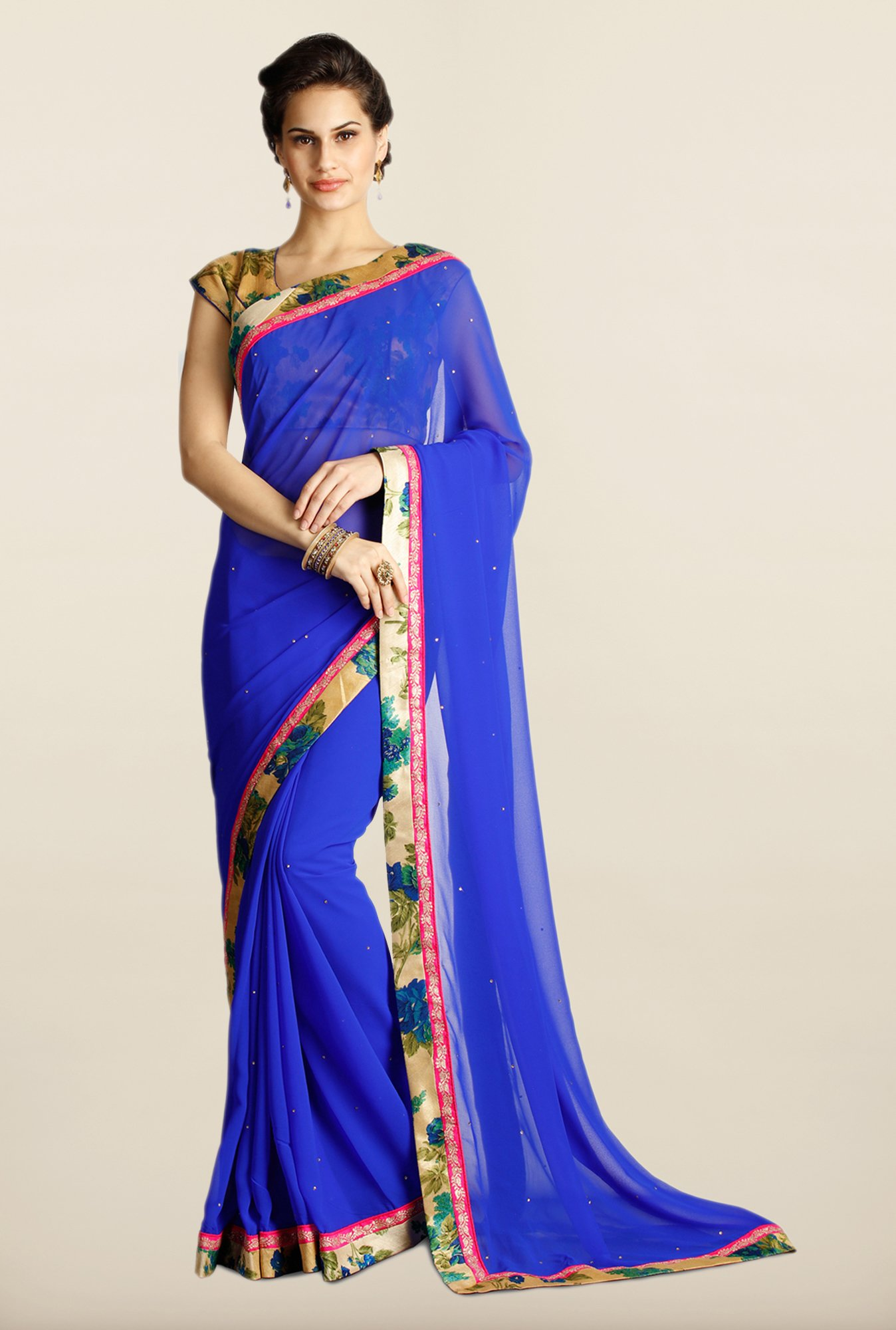 Soch Royal Blue Georgette Saree