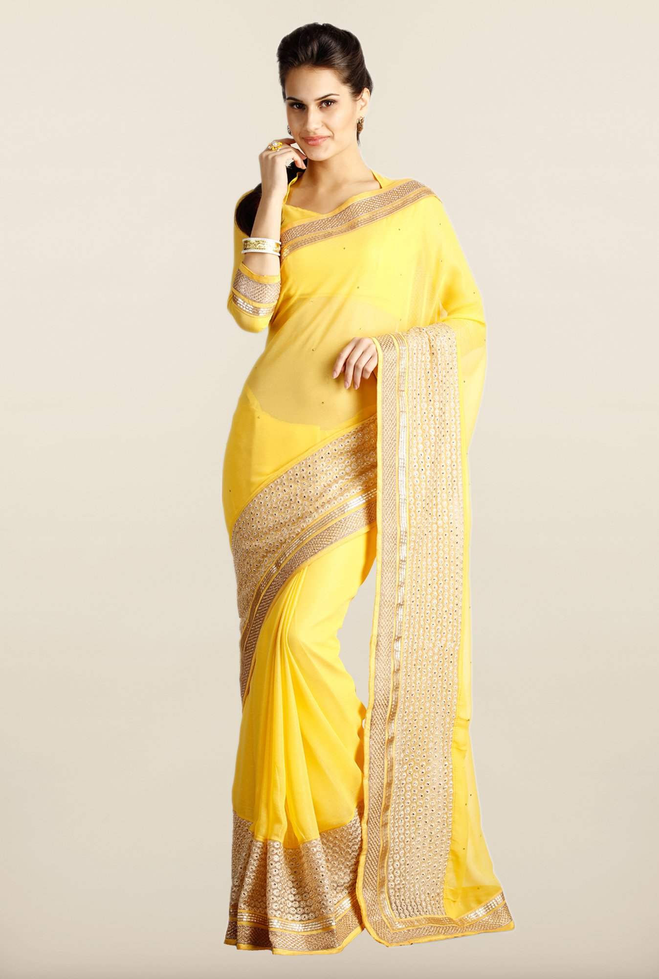 Soch Yellow & Gold Embroidered Chiffon Saree