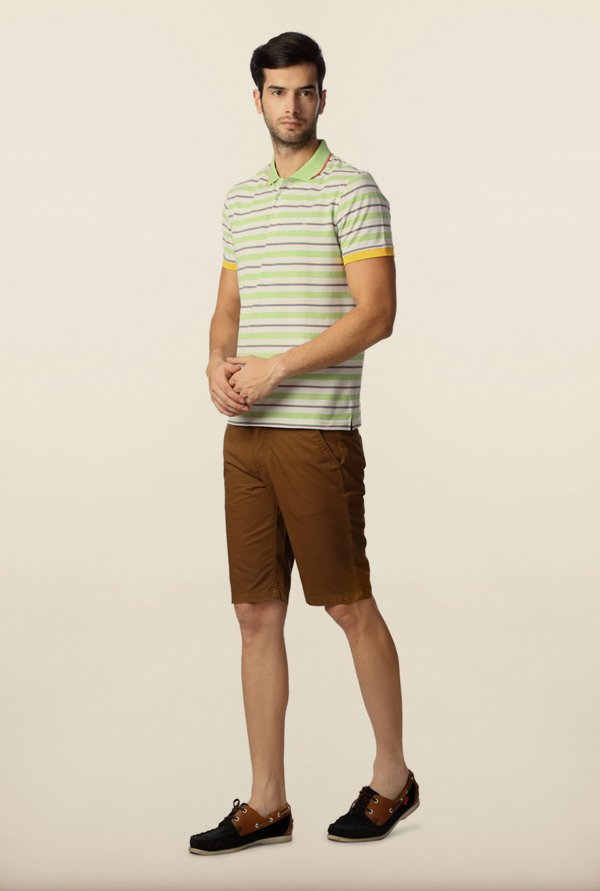 Peter England Green & White Striped Polo T-Shirt