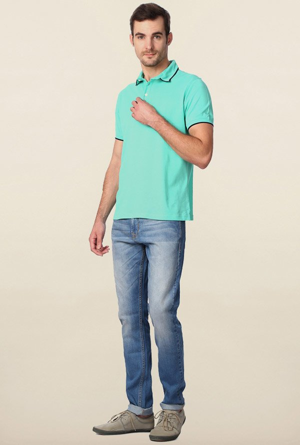 Peter England Turquoise Solid Polo T-Shirt