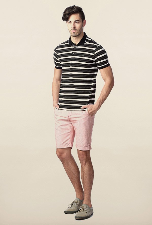 Peter England Black & White Striped Polo T-Shirt