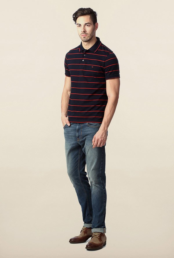 Peter England Navy Striped Polo T-Shirt