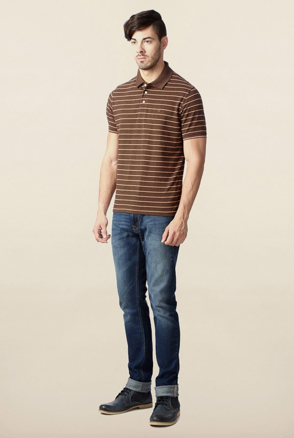 Peter England Brown Striped Polo T-Shirt