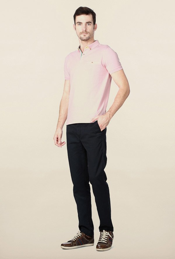 Peter England Light Pink Solid Polo T-Shirt