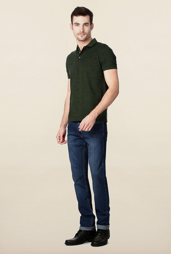 Peter England Dark Green Solid Polo T-Shirt