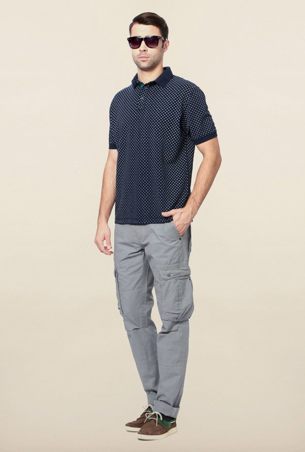 Peter England Navy Dot Print Polo T-Shirt
