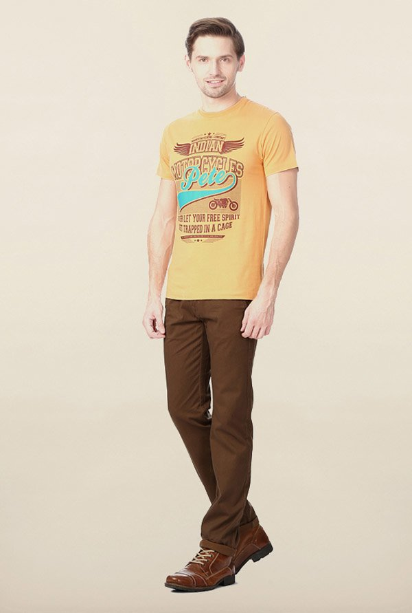 Peter England Mustard Graphic Printed T-Shirt