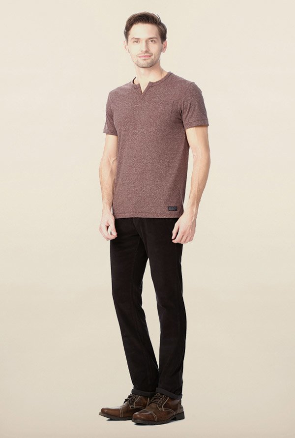 Peter England Brown Solid T-Shirt