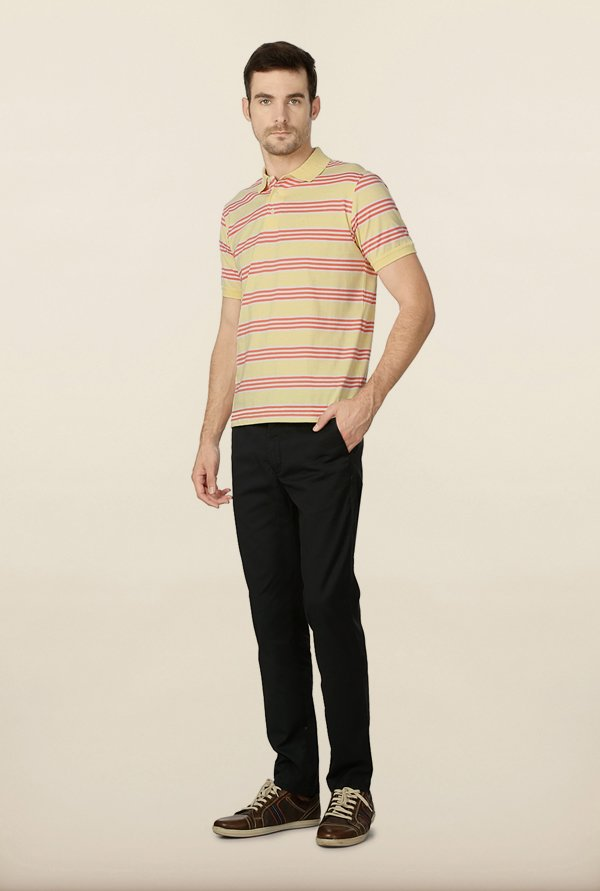 Peter England Yellow Striped Polo T-Shirt