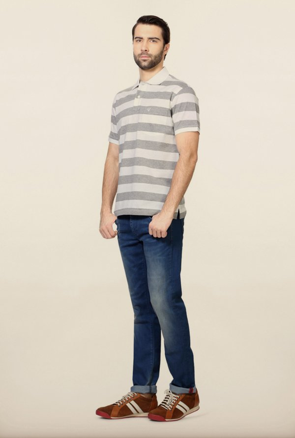 Allen Solly Grey & White Striped Polo T-Shirt