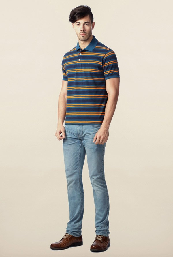 Peter England Blue & Orange Striped Polo T-Shirt