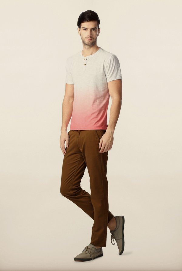 Peter England White Ombre Dyed Henley T-Shirt