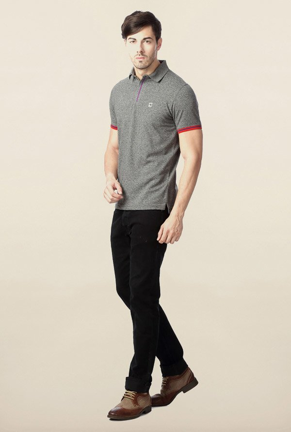 Peter England Grey Solid Polo T-Shirt