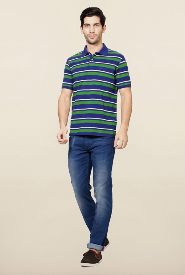 Allen Solly Blue & Green Striped Polo T-Shirt