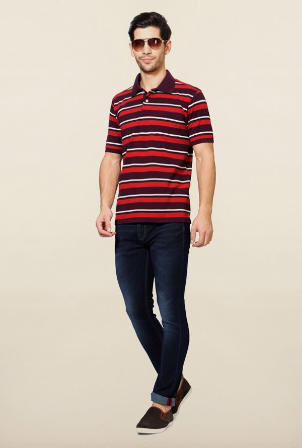 Allen Solly Red & Brown Striped Polo T-Shirt