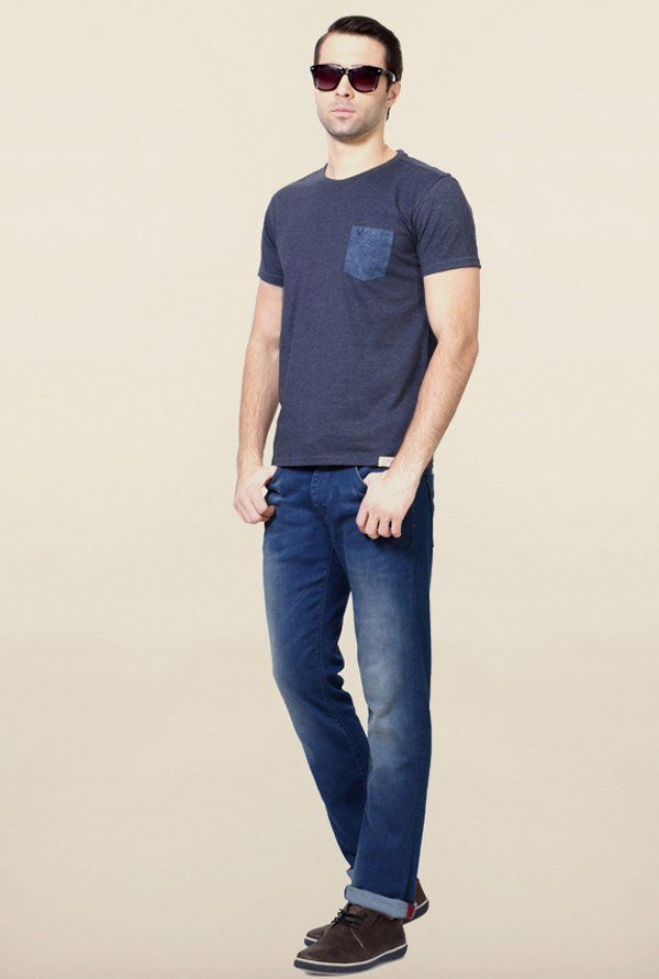 Allen Solly Navy Solid T-Shirt
