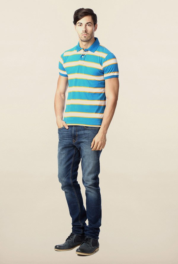 Peter England Blue Polo Striped T-Shirt
