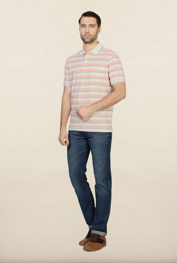 Peter England White & Pink Striped Polo T-Shirt