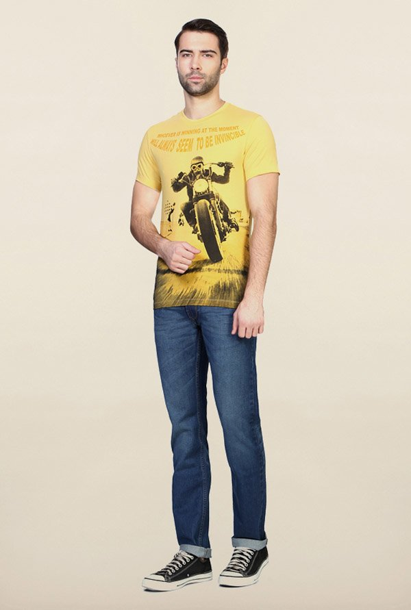 Peter England Yellow Graphic Print T-Shirt