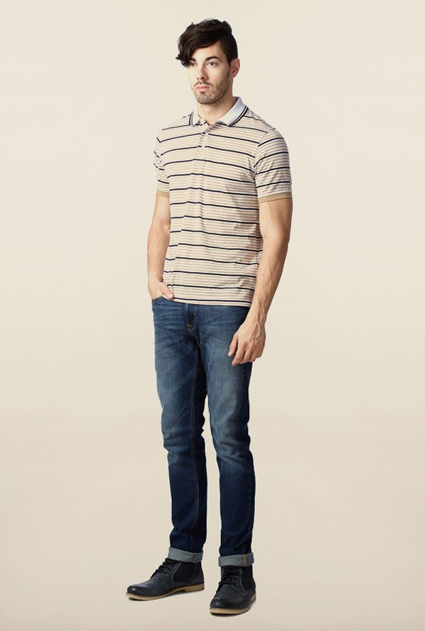 Peter England Beige Striped Polo T-Shirt
