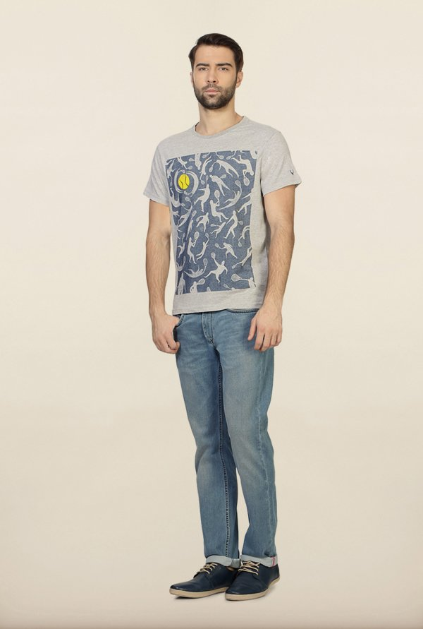 Allen Solly Grey Graphic Print T-Shirt