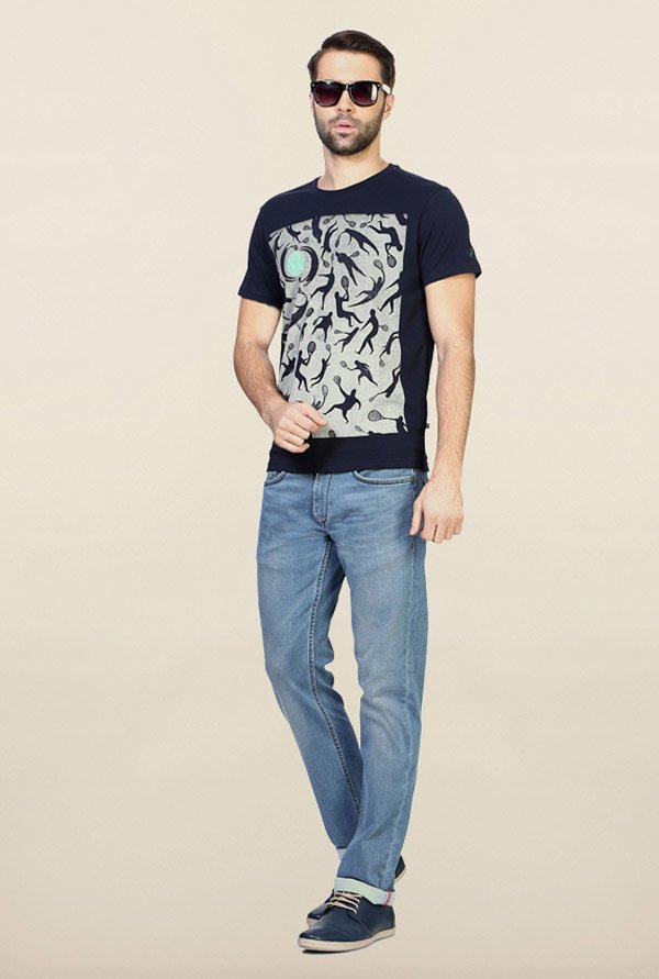 Allen Solly Navy Graphic Print T-Shirt