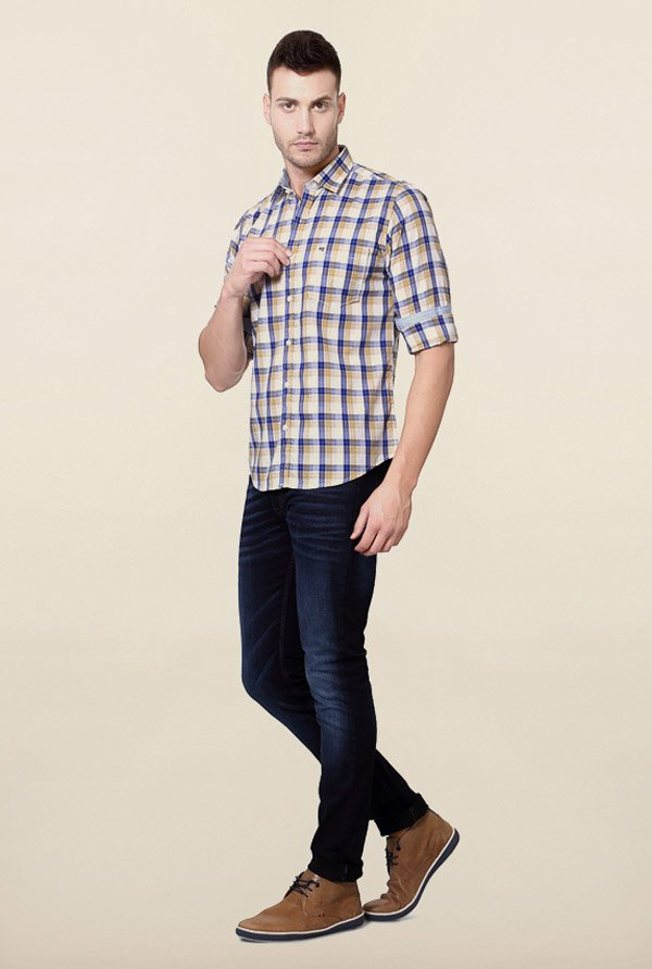 Peter England Blue & Brown Checks Casual Shirt