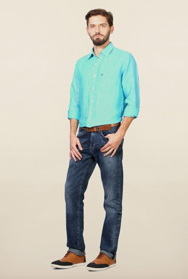 Allen Solly Turquoise Solid Slim Fit Shirt